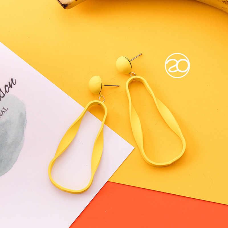 1 คู่คุณภาพสูงอาหารเรขาคณิตสดหวานฤดูร้อนชุดแคคตัสหัวใจสีเหลืองยาวสีส้ม Drop ต่างหูผู้หญิงของขวัญ 22 สี