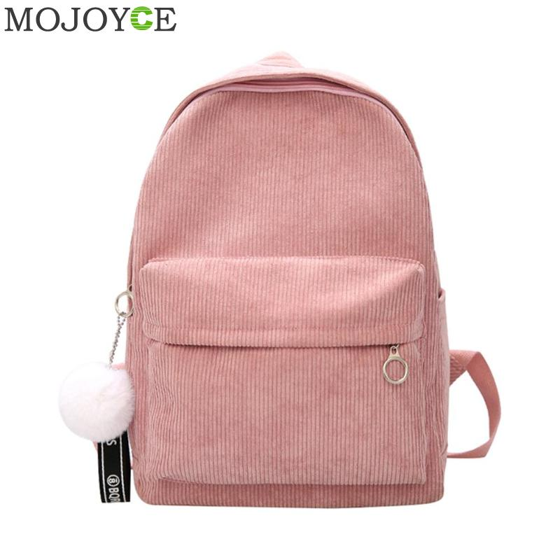 Backpack Female Teenage-Girls Preppy-Style Corduroy-Design Women Striped for with Ball