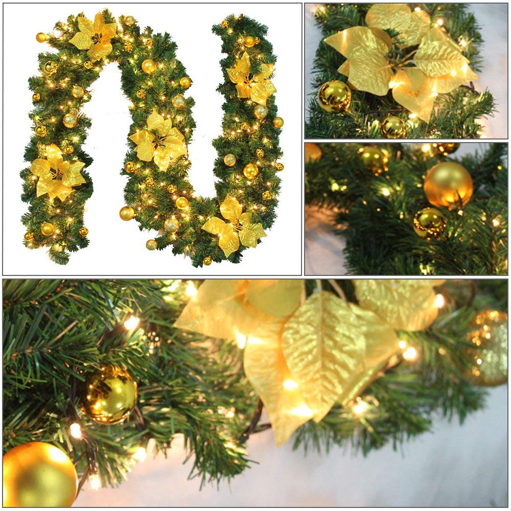 Us 15 02 8 Off 2 7m Decorated Garland Illuminated With Lights Christmas Decoration Xmas Garland For Fireplace Stairs Baubles Flowers Xmas Tre In