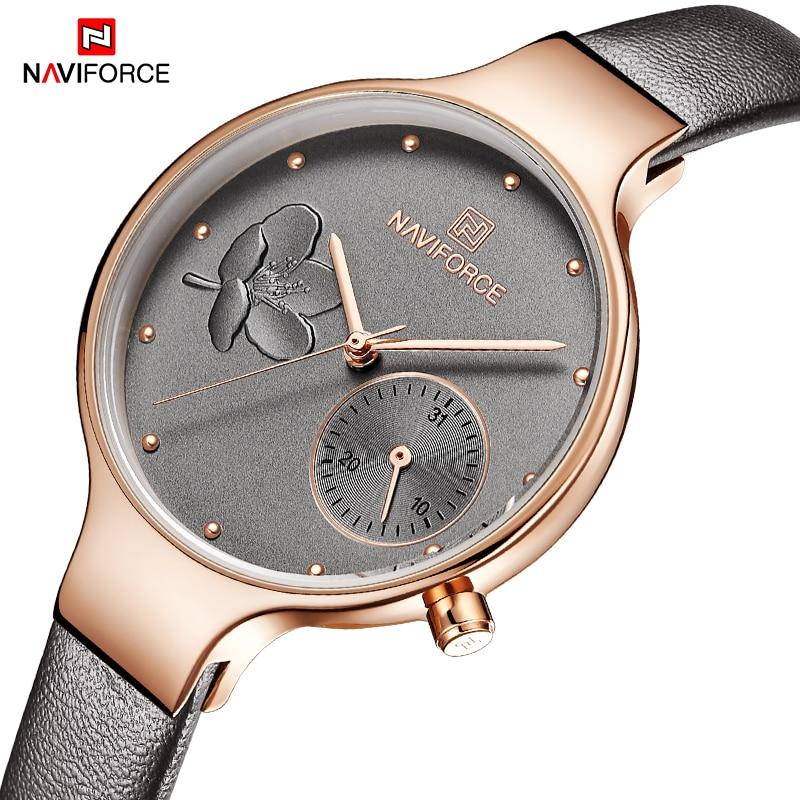 Women Analog Quartz Watches NAVIFORCE Luxury Brand Fashion Lady Rhinestone Watch Dress Wrist Watch Simple Clock Relogio Feminino