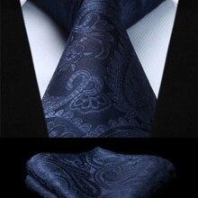 Пейсли темно-синий цвет мужской галстук тканый галстук платок Набор TF4015V28S вечерние Свадебный классический модный Карманный квадратный галстук