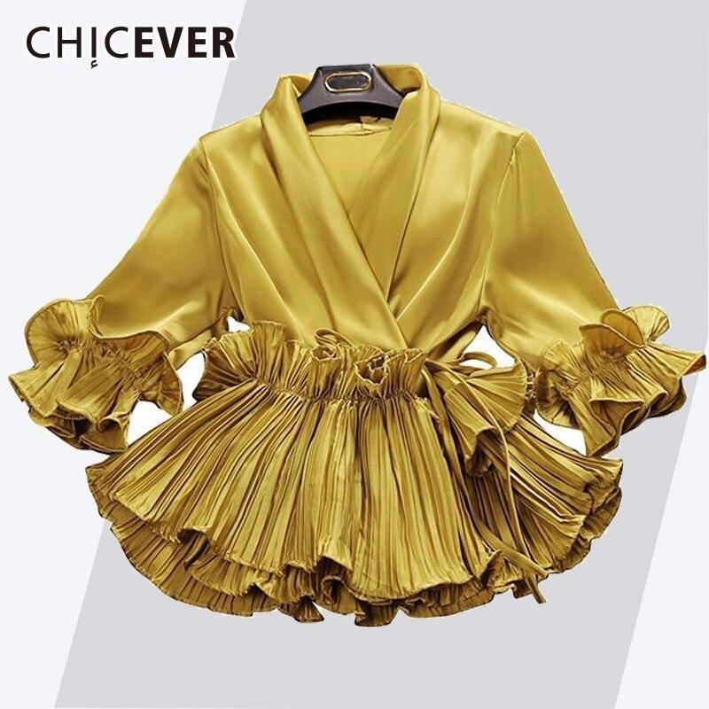 CHICEVER Pleated Ruffles Women's Blouse V Neck Three Quarter Butterfly Sleeve Short Summer Tops For Women 2018 OL Style Fashion