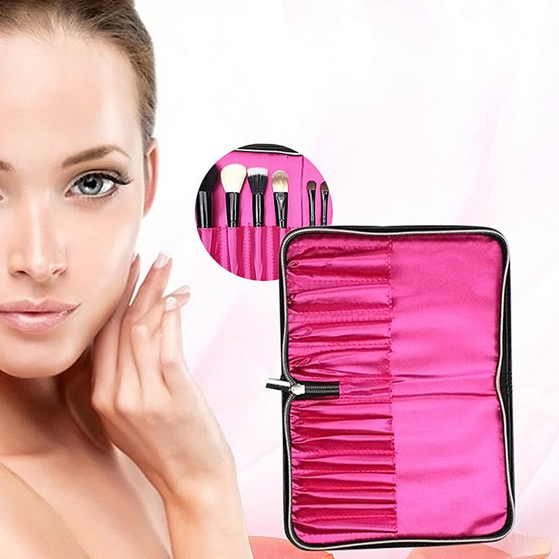 12 Holders Makeup Brush Storage Bag With Zipper Belt Strap Cosmetic Case Leather Pouch Makeup Brush Container Makeup Case