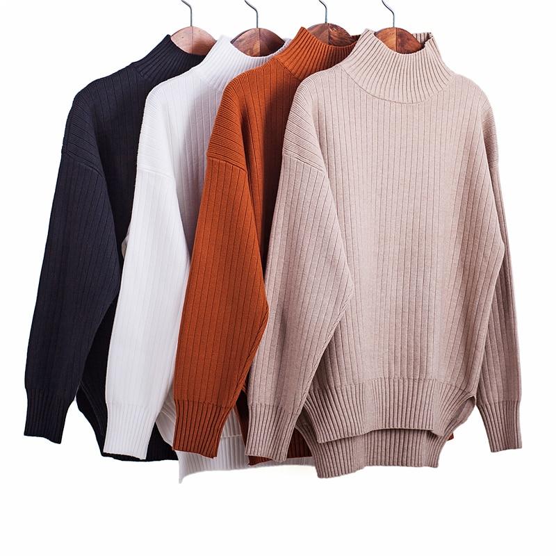 La MaxZa Sweater Woman 2018 New Style Autumn Winter Lazy Wind Sweet Literary Retro High Semi Collar Knitted Bottoming Shirt 1689