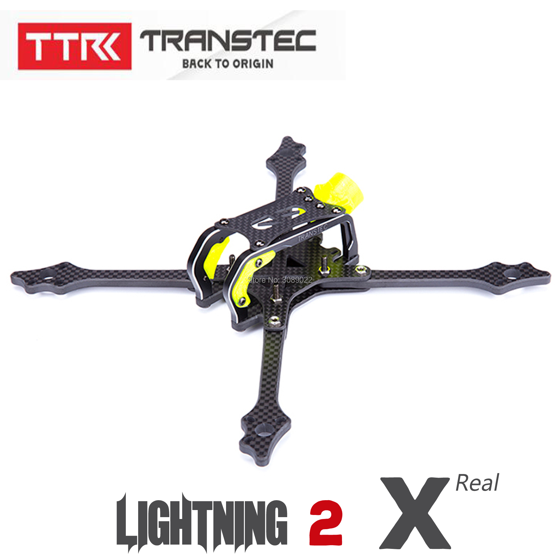 TRANSTEC TransTEC Lightning 2 215mm FPV Quadcopter Frame 5mm Arm 7075 CNC Carbon Fiber Frame Kit