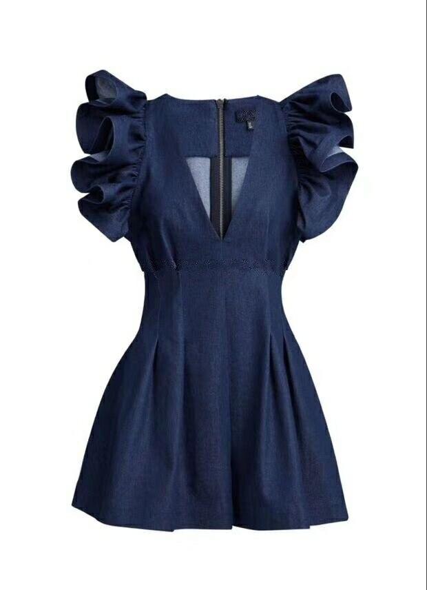 Spalla Del Donna Tuta blue Con Scollo Abbigliamento New Femminile V Denim Lampo Increspature Black A Fashion Breve Chiusure Della 2019 E216 Siamesi Spring Pantaloni IwC0ZqxZa