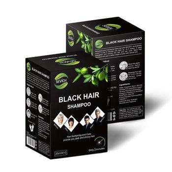 10 Pcs/Box Instant Black Hair Shampoo Hair Darkening and Shinny Long-lasting Hair Dye Hairdressing Black hair dye