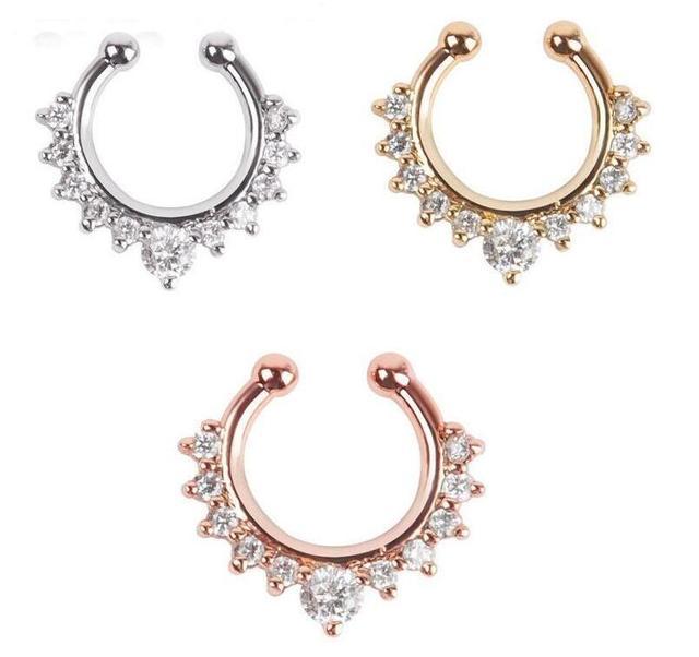 11e49daf1850 6 unids lote moda joyas Acero quirúrgico 316 L cristal falso nariz anillo  falso septum