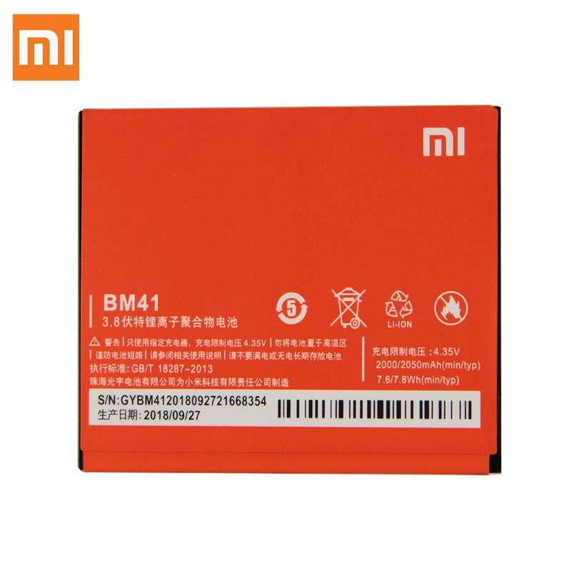 XaioMi <font><b>Original</b></font> BM41 <font><b>Battery</b></font> For <font><b>Xiaomi</b></font> <font><b>Redmi</b></font> <font><b>1S</b></font> Red rice 2 Mi 2A Phone Replacement <font><b>Battery</b></font> 100% New Authentic 2050mAh image