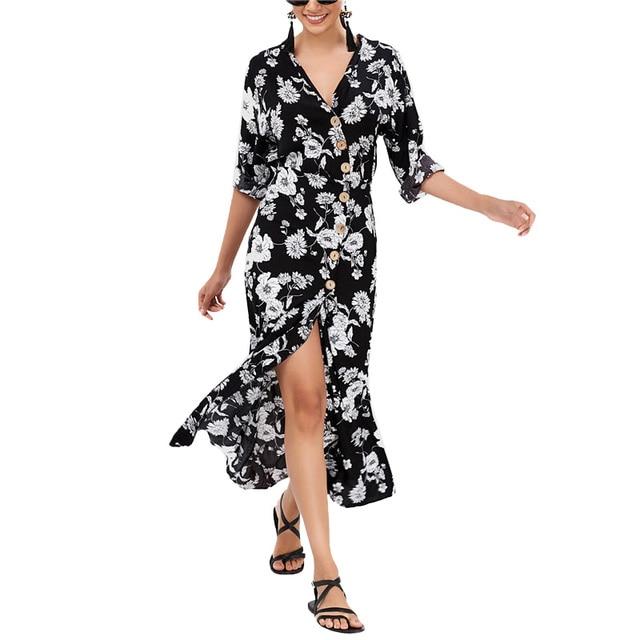 6612d7001905 € 9.78 |Nueva de moda de las mujeres flor Boho playa Vestido corto elegante  Botón de manga larga cuello en V de alta cintura ropa en Vestidos de La ...