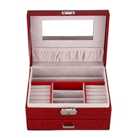 Crocodile Pattern Jewelry Box With Drawer Double Necklace Earrings Storage Box Cosmetic Box