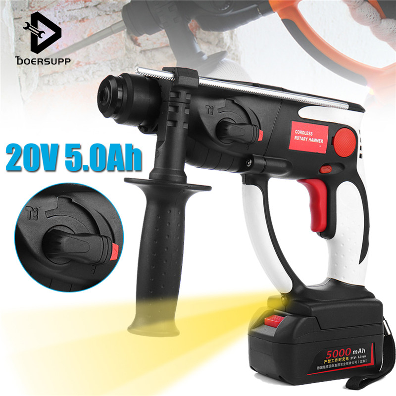 20V 26mm Cordless Impact Hammer Drill 3000mAh DC Hammer Power Drill Industrial Electric Power Tools with LED Light Household