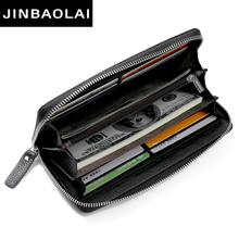Panic buying Real Cow Leather Men Wallets Genuine Long Purse For Zipper Large Capacity Card Holder N8111