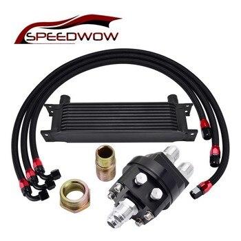 SPEEDWOW черный 10ROW 10AN Двигатель масляный радиатор комплект + Масляный сэндвич пластина адаптер + 1 м/1,2 м/1,4 м нержавеющая сталь поворотный углово...