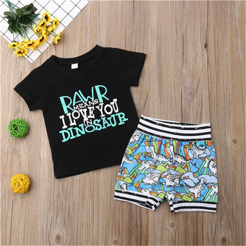 Toddler Baby Boy 2PCS Clothes Dinosaur Tops Shorts Outfits Kids Clothes 0-4Y Toddler Boy Clothes Cotton O-neck Short Sleeve