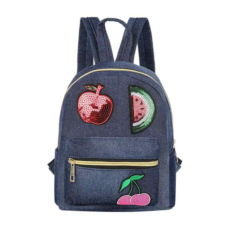 292bb0a789 Casual Denim Backpack for Women Sequin Travel Shoulder Bag Teenagers Girls  School Bags mochilas mujer 2019