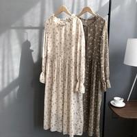 Floral Print Women Chiffon Long Dress Ruffle O Neck Beige Coffe A Line Vintage Dress