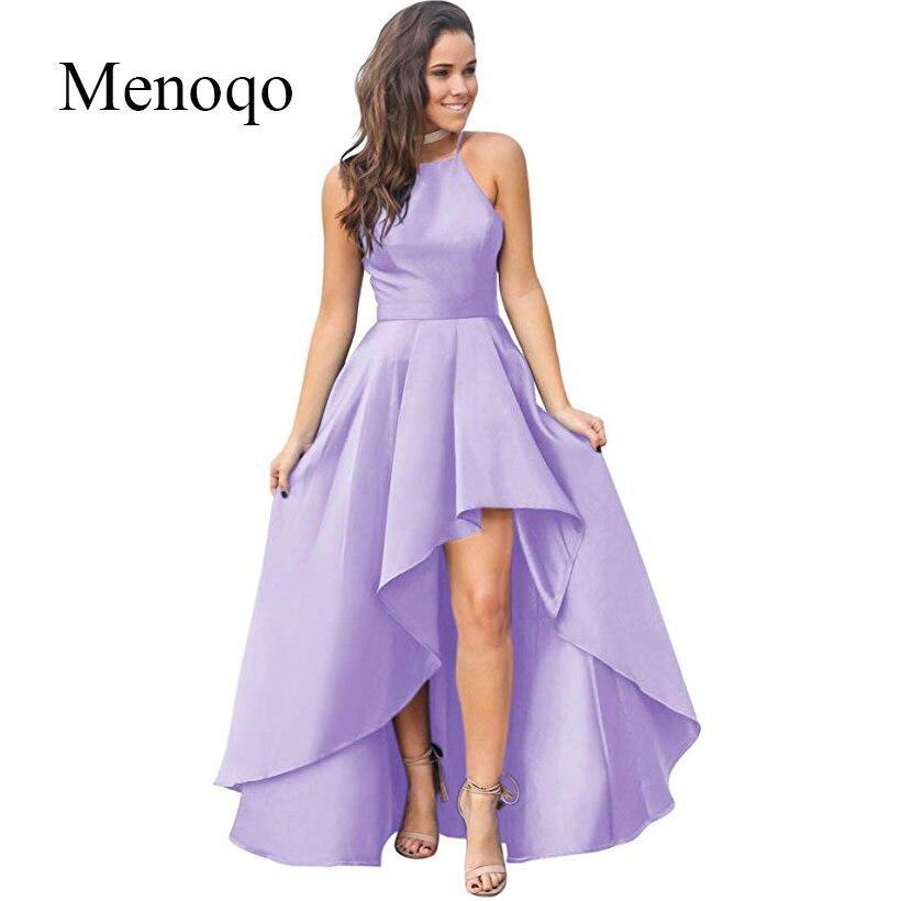 Menoqo 2019 nouveau modèle haut bas robes De soirée Sexy licou cou Occasion spéciale Robe De soirée pas cher Robe De soirée