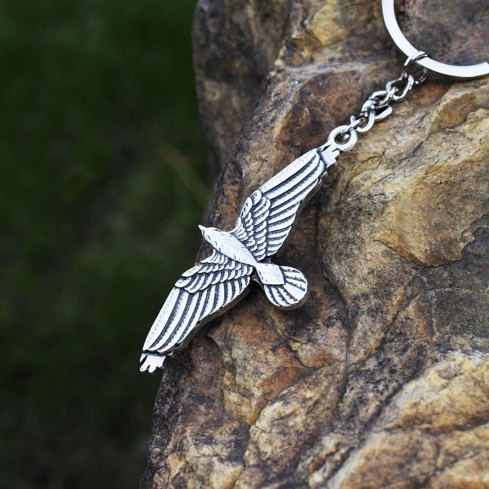Celtic Gagak Burung Gagak Hitam Gantungan Kunci Double Sisi Liontin Burung Terbang Spirit Animal Totem Malam Perhiasan Gantungan Kunci Aliexpress