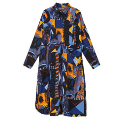[EAM] 2019 New Autumn Winter Lapel Long Sleeve Blue Pattern Prited Loose Large Size Pocket Dress Women Fashion Tide JI485 5