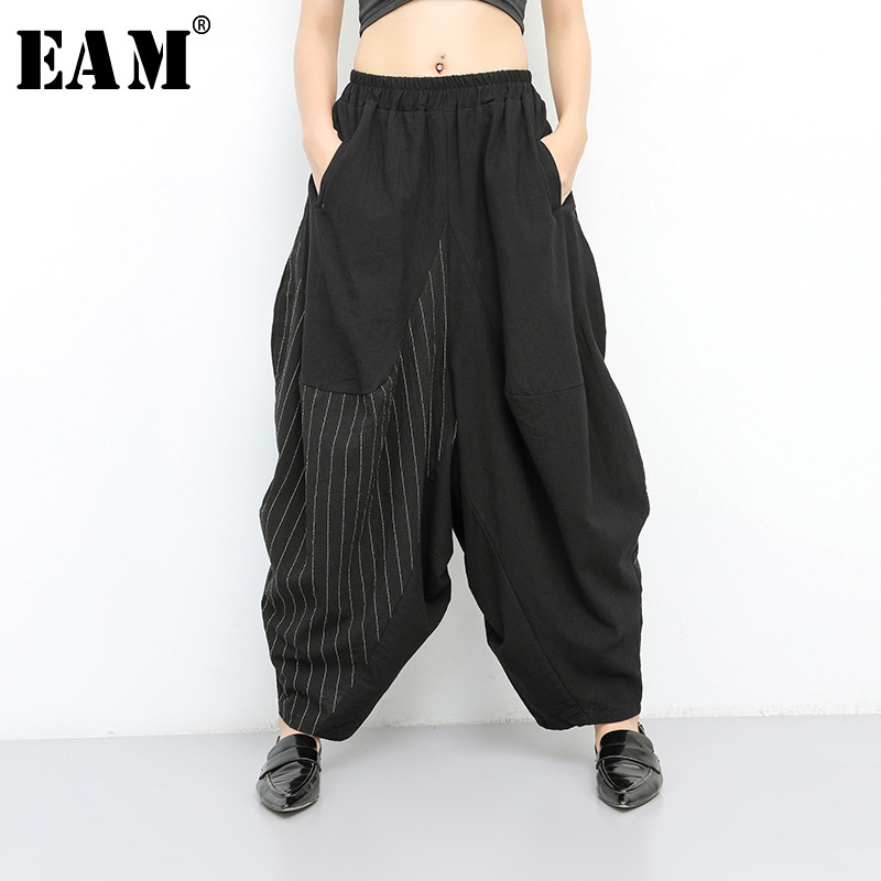 [EAM] 2019 New Spring Summer High Elastic Waist Black Striped Big Pocket   Wide     Leg   Loose   Pants   Women Trousers Fashion Tide JT138
