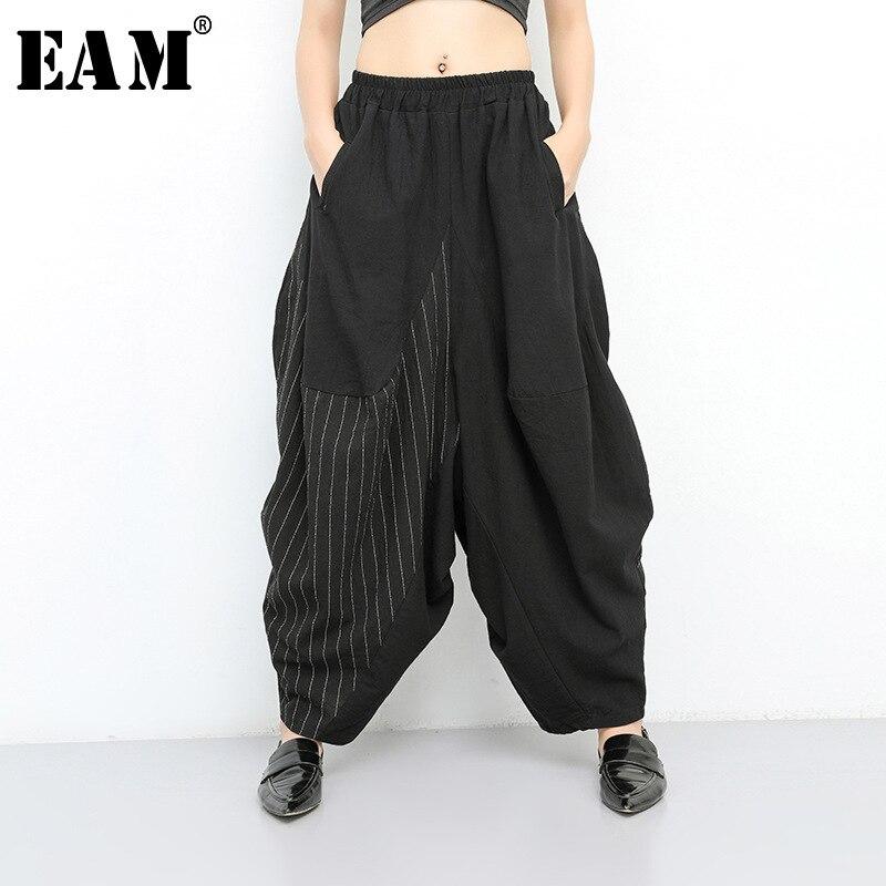 [EAM] 2020 New Spring Autumn High Elastic Waist Black Striped Big Pocket Wide Leg Loose Pants Women Trousers Fashion Tide JT138