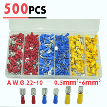 500pcs  Vinyl Female Male Quick Disconnect Wire Terminals Red Blue Yellow 22 10 AWG Ga Connectors