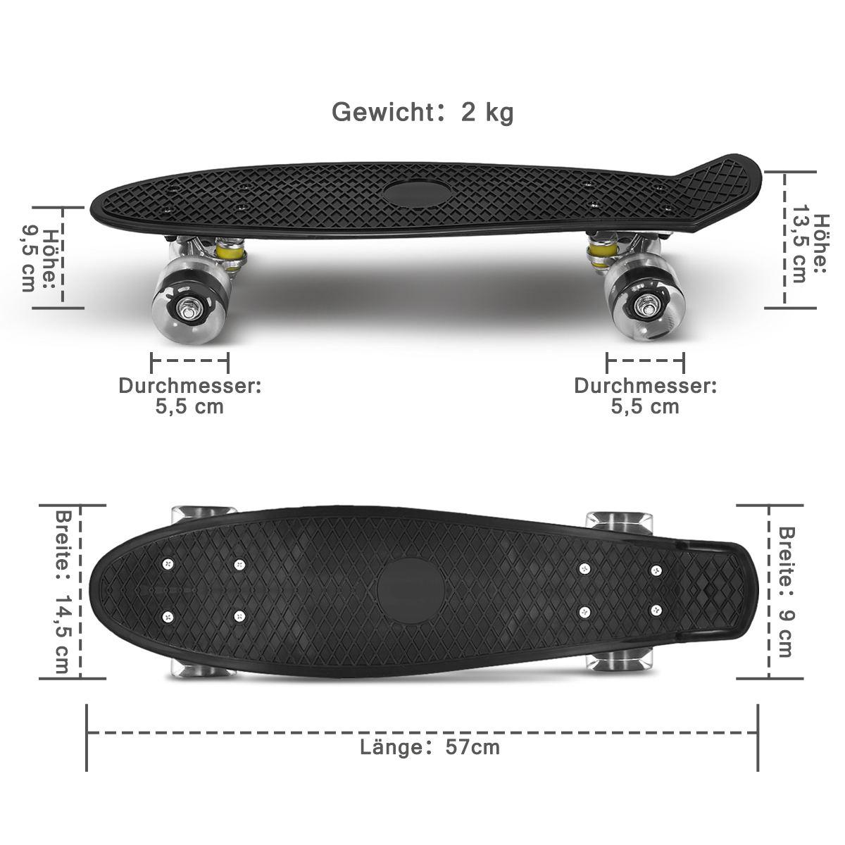 22 pouces Mini planche à roulettes en plastique planche à roulettes roue en polyuréthane avec LED lumières Cruiser complet Skateboard Sports enfants enfants cadeaux unisexe - 5