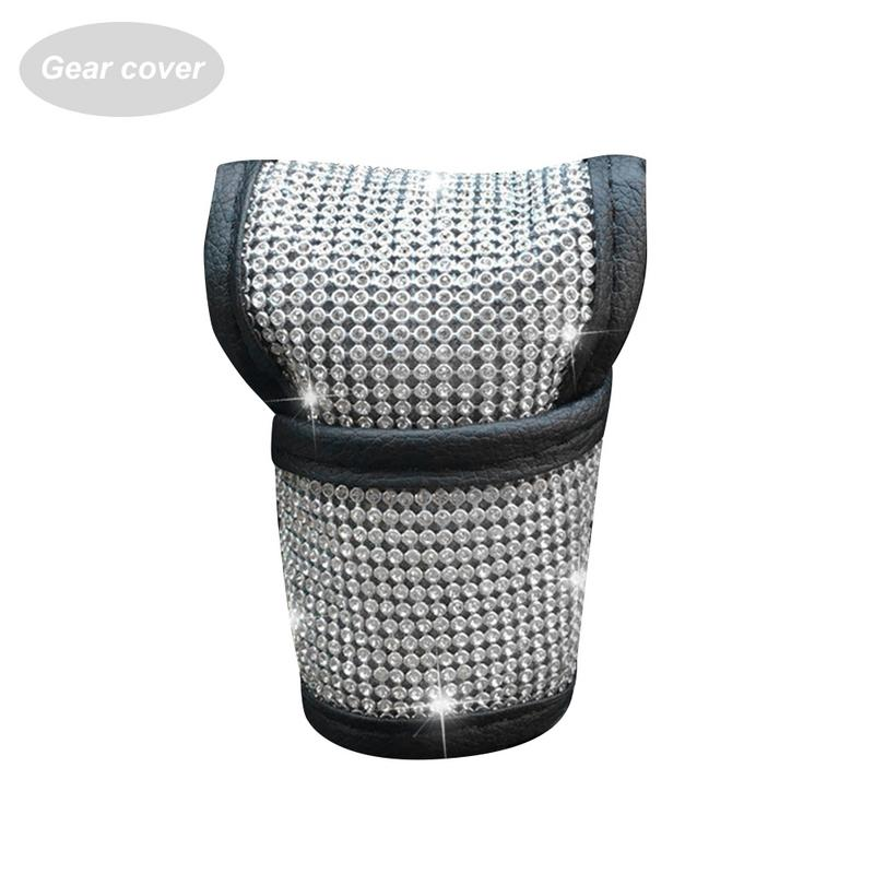 Auto Shift Gear Cover Handbrake Cover Shoulderpad Luster Crystal Car Knob Gear Stick Protector Rhinestone Car Decor Accessories