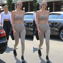 2019 Active Women Yoga High Waist Gym Suit Solid Push Up Flex Mujer Hip Sling Bra+leggings Fitness Workout Sport Femme Wear