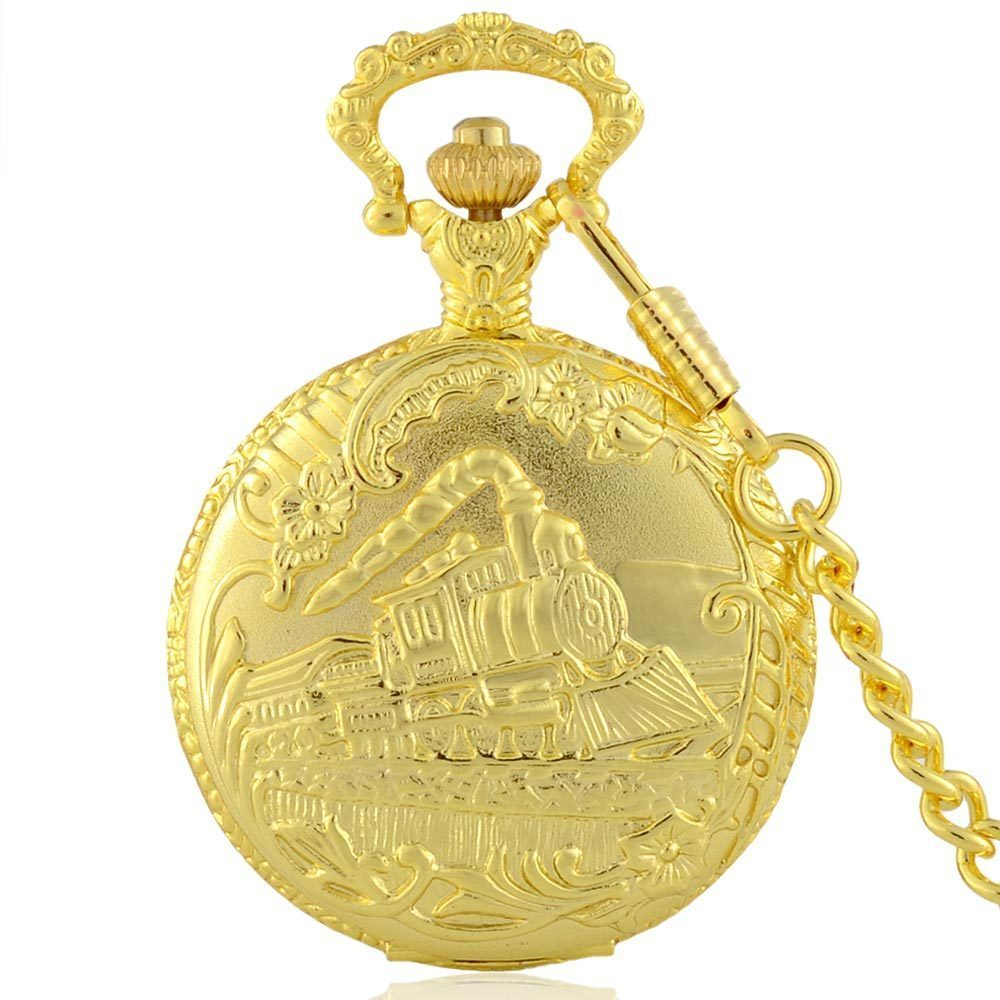 Golden Train Pocket Watch Full Hunter Quartz Engraved Fob Retro Pendant Pocket Watch Chain Gift