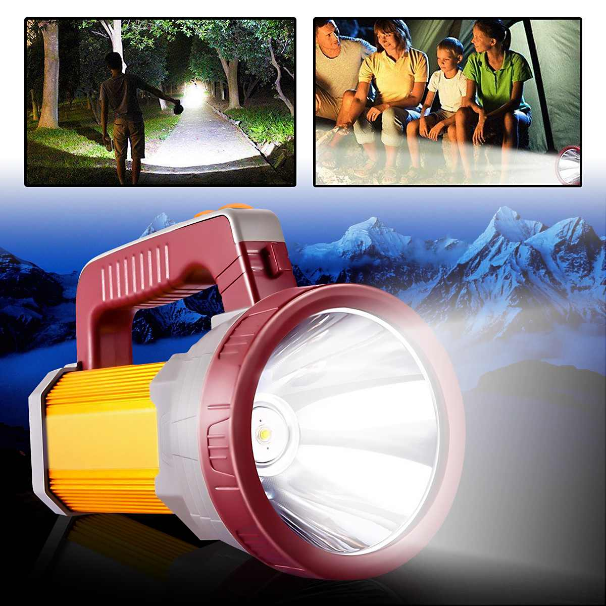 Portable Spotlight Lantern High Power Super Bright LED Searchlight Outdoor Handheld USB Rechargeable Flashlight Lamp high power portable spotlight lantern searchlight rechargeable waterproof hunting spotlight built in battery