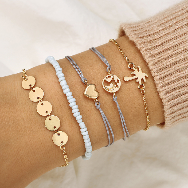 Charm Bracelets Diligent Bead Leather Valentines Gift Rope Chain Heart Party Jewelry Stone Coconut Tree 5pcs/set Adjustable Boho Golden Earth Map Clear And Distinctive Jewelry & Accessories