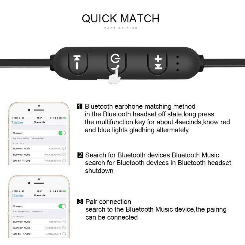 Magnetic Music Bluetooth 4 2 Earphone Sport Running Wireless Bluetooth Headset With Charging Cable Young Earphones in Bluetooth Earphones Headphones from Consumer Electronics