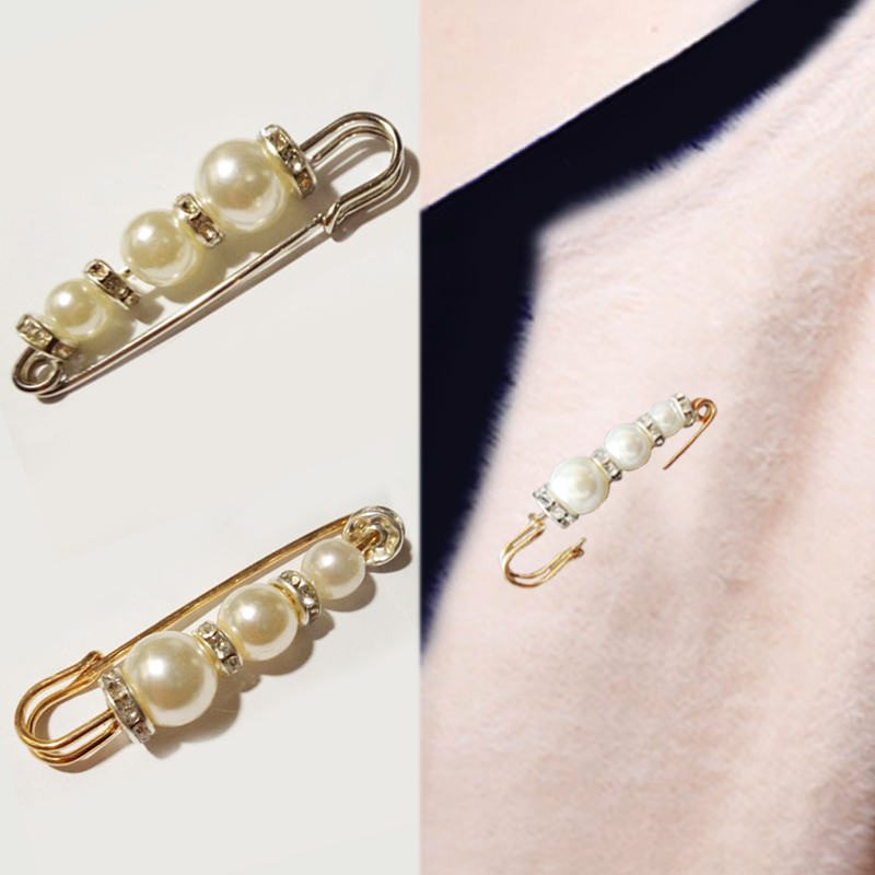 Retro Crystal Pearl Pin Buckle pearl Brooch Jewelry Mens and Womens Dress Sweater Scarf Gold Silver clothing Accessories