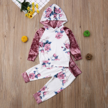 2Pcs Cute Toddler Kids Baby Girl Floral Hooded Tops Pants Autumn Outfits Clothes 1-6T