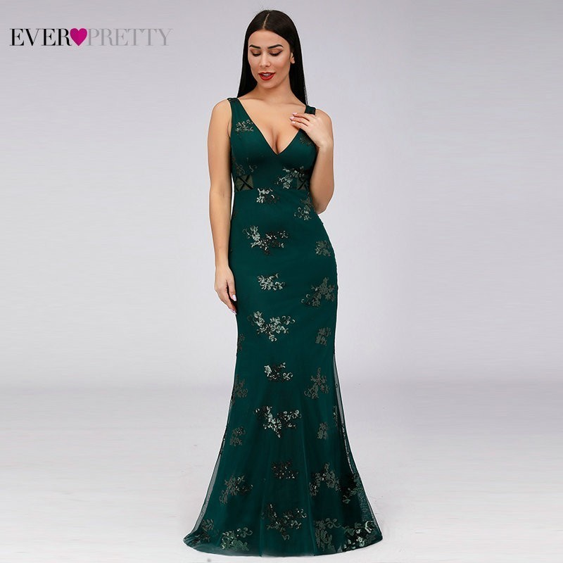 Elegant Green   Bridesmaid     Dresses   Ever Pretty Sequined Mermaid V-Neck Sleeveless Wemen   Dresses   For Wedding Party Vestido Madrinha