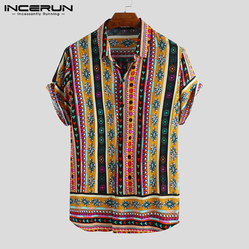 INCERUN 2019 Retro Print Men Casual Shirt Lapel Neck Ethnic Style Short Sleeve Loose Tops Streetwear Tropical Hawaiian Shirt Men