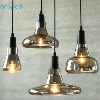 Artpad Modern Amber Glass Pendant Light AC110V-220V Coffee Bar Restaurant Hotel Living Room Dining LED Hanging Lamp E27 Included modern lamps pendant lights aluminum lamp restaurant bar coffee dining room led hanging light fixture