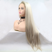 Marquesha Ombre Blonde Glueless Lace Front Wigs 2 Tone Color Side Part Straight Heat Resistant Synthetic Makeup Wigs For Women