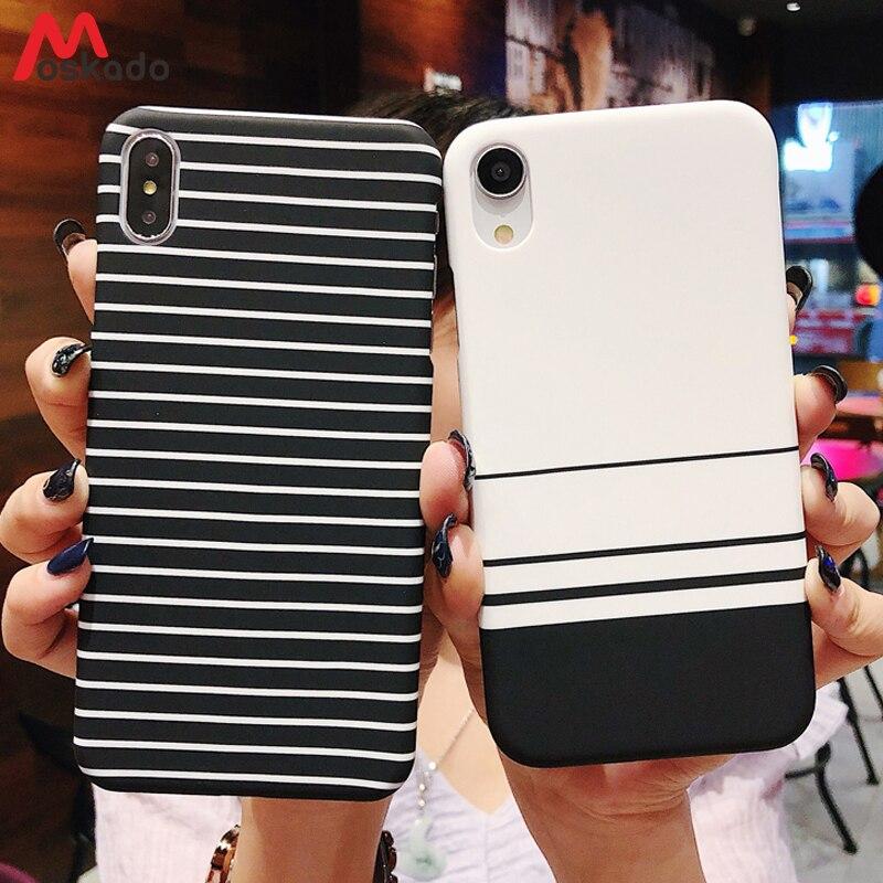 أمن ب Moskado مخطط جراب هاتف ل iphone XS ماكس XR X 7 زائد الأزواج الطازجة  أسود أبيض الشبكة ل iphone 8 6 6 s زائد 5 5 5 s الصلب غطاء حديث