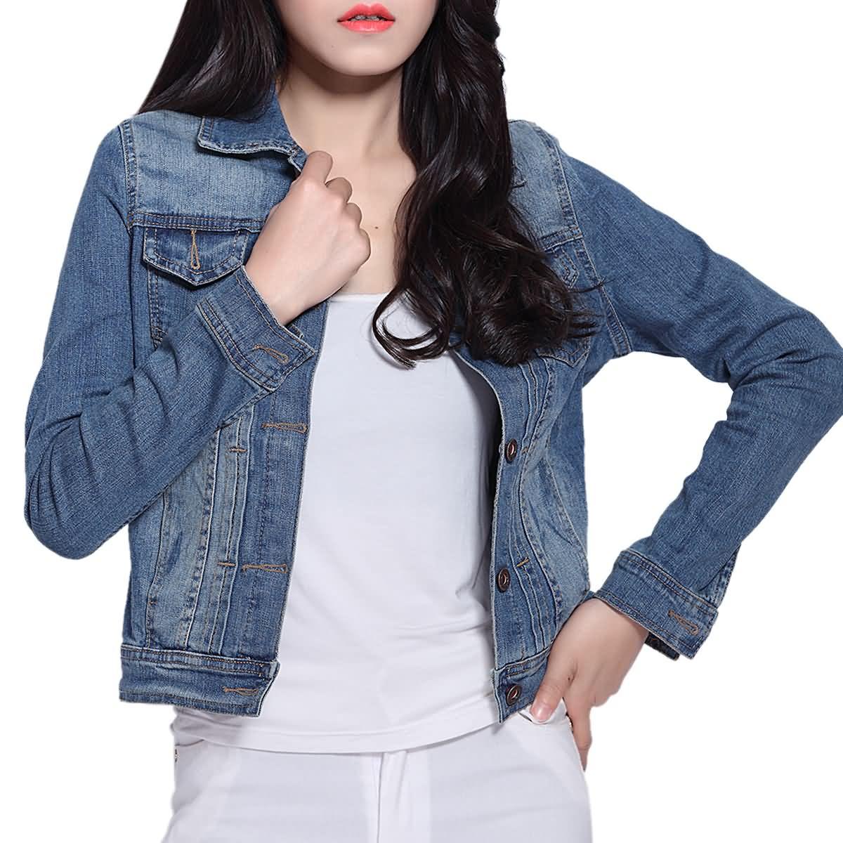 Women Short   Basic   Jeans   Jacket   Coat Bleach Long Sleeves Single Breast Slim Women Cowboy Denim   Jacket   Topcoat Cardigan On Sale