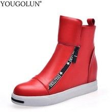 цены Cow Leather Wedges Ankle Boots Women Spring Autumn Lasdies High Heels A212 Casual Woman Red White Wedge Platform Round Toe Shoes