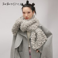 TWOTWINSTYLE Korean Faux Lamb Fur Scarves For Women Plus Thick Warm Scarf Female Casual Fashion Accessories 2018 Autumn Winter