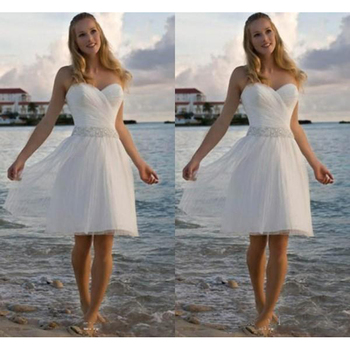 High Quality Sweetheart Rhinestone Tulle Casual Beach Wedding Dresses A Line Short Bridal Gowns