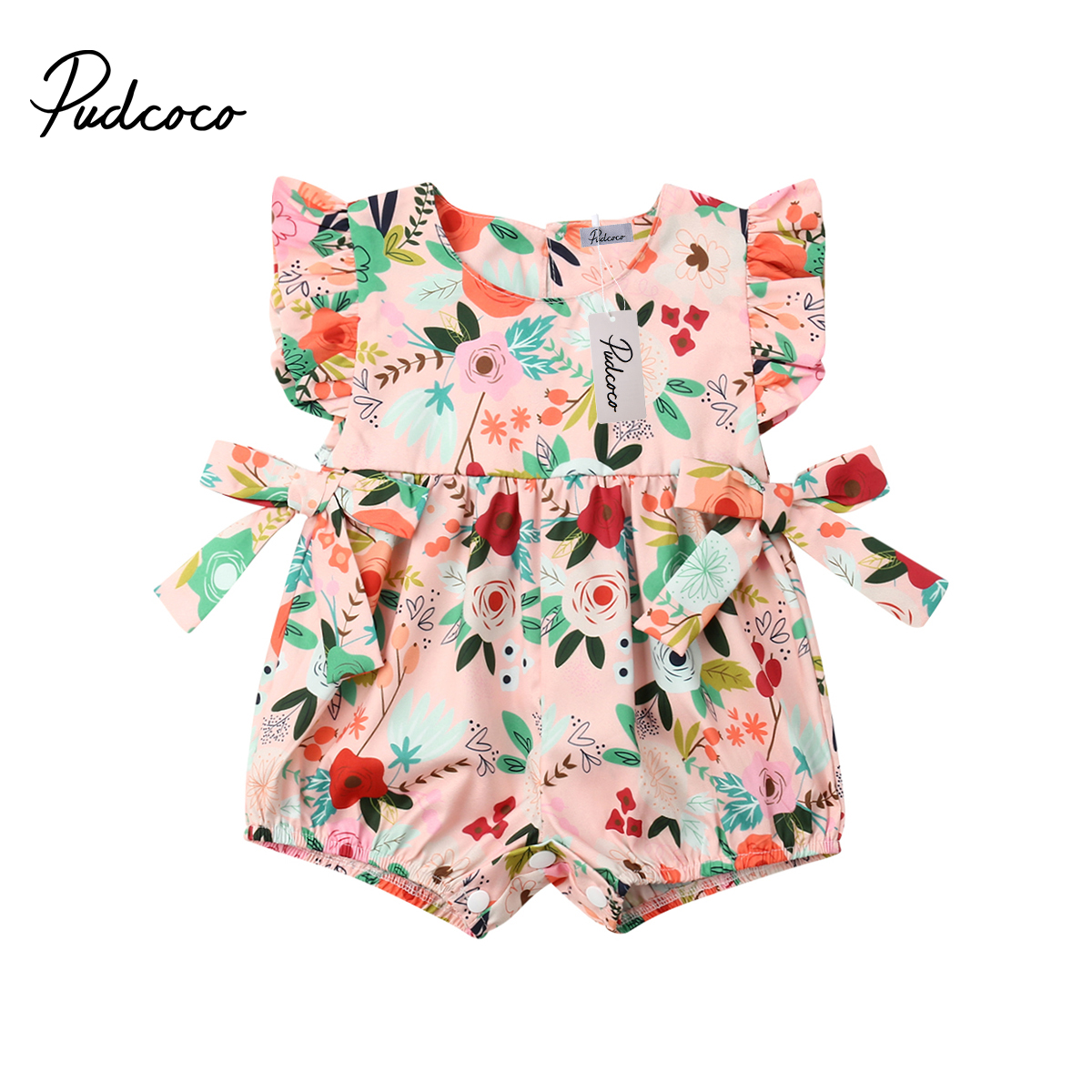 2019 Baby Girl Summer Clothing Flower Ruffle Bow Romper Jumpsuit Outfits Sunsuit For Kid Clothes Toddler Children Newborn Infant