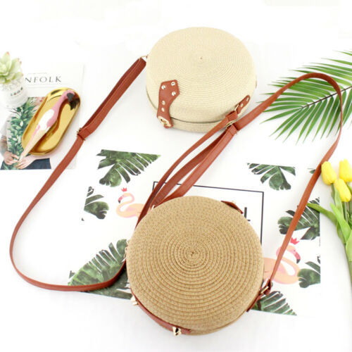 2019 The Newest Fashion Rattan Suit Casual Clothing Beach Straw Woven Bags Rattan Basket Shoulder Bag Round Handbag