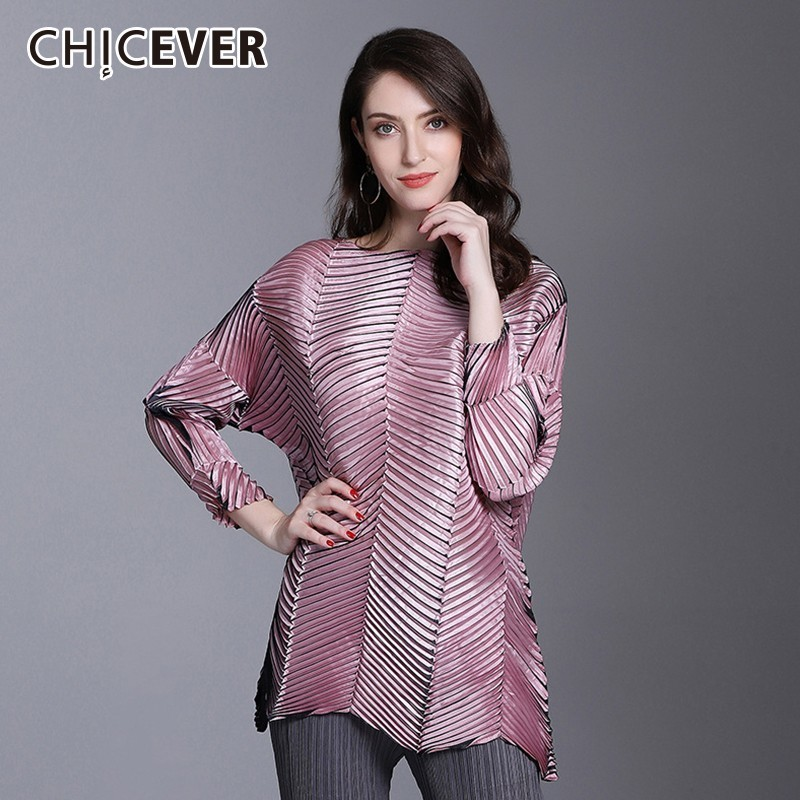 CHICEVER Autumn Women Tops And T shirts O Neck Long Sleeve Loose Irregular Hem Embossing Oversize