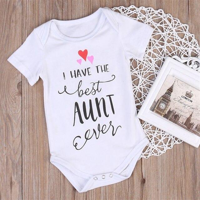 2019 Brand New Newborn Infant Baby Girls Boys Letter Bodysuits Best Aunt Print Short Sleeve White Jumpsuits Summer Clothes 0-18M