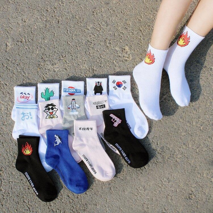 Hip Hop Unisex Cotton   Socks   Streetwear Patterned Design Flame Bomb Baseball Harajuku Cool Print   Socks   Cartoon Funny Cute   Socks